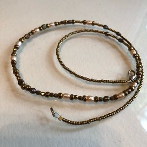Earth tone with white bead necklace